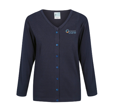 Navy Cotton-blend Long Sleeve Cardigan - Click to enlarge picture.