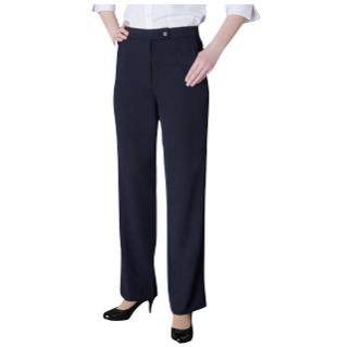 Ladies Navy Flat Front Pants - Click to enlarge picture.