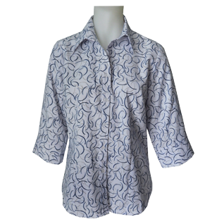 Swirl 3/4 Sleeve Blouse - Click to enlarge picture.