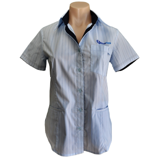 Sky Stripe 3 Pocket Short Sleeve Blouse - Click to enlarge picture.
