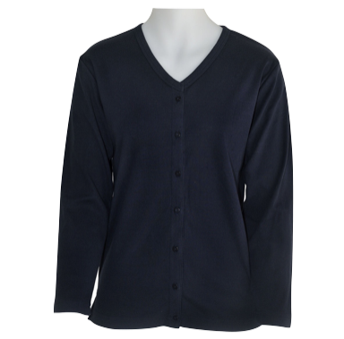 Ladies Navy Cotton-blend Long Sleeve Cardigan - Click to enlarge picture.