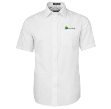 White Short Sleeve Poplin Shirt - Click to enlarge picture.