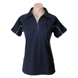 Ladies Navy Cottonrich Short Sleeve Polo - Click to enlarge picture.
