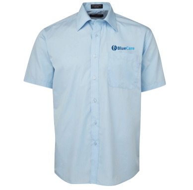 Blue Short Sleeve Poplin Shirt - Click to enlarge picture.