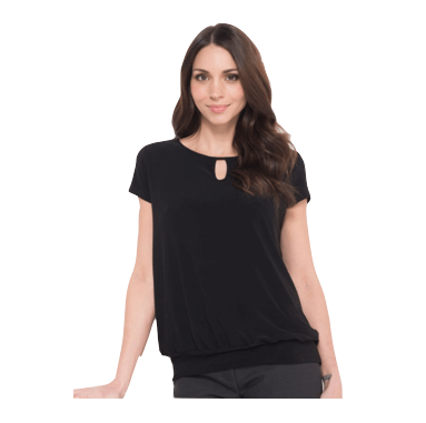 Keyhole neck banded top
