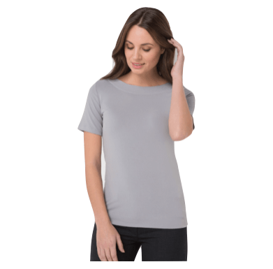 Short sleeve boat neck top